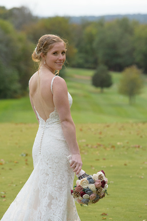 Bride with sola faux flowers The Traditions Golf Course Wallingford, Connecticut