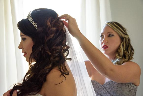 Profile of Bride Getting Ready