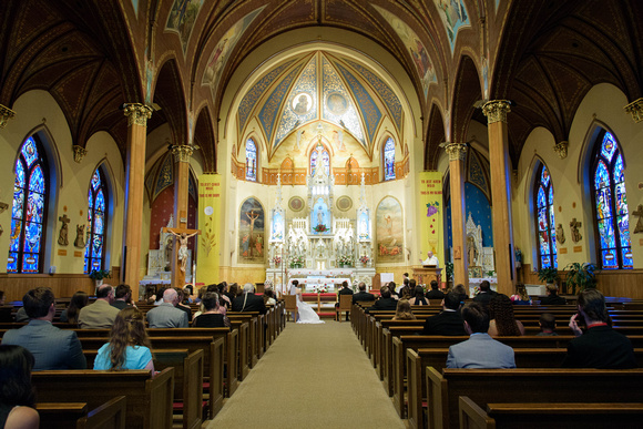 Fantasia wedding venue reception in North Haven and catholic wedding ceremony at Sacred Heart Parish in New Britain, Connecticut