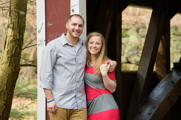 Engagement Shoot at Southford Falls Park in Southbury, Connecticut with waterfalls, covered bridges, forests, walkways and corges